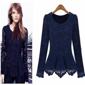 S-3XL Women Elegant Lace Blouses Autumn Long Sleeve O-Neck Shirts Patchwork Slim Blusas Tops Plus Size Blue - intl