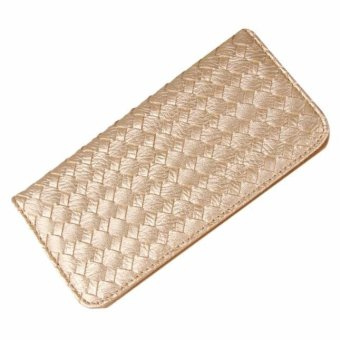 Women Lady Weave Coin Purse Card Holder Long Thin Wallet - intl