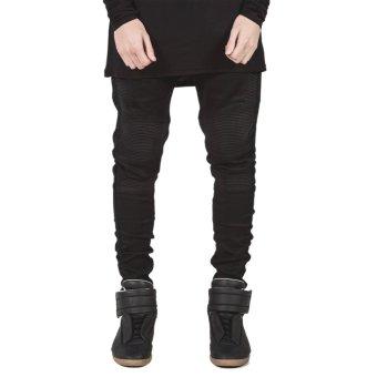 Mens Straight Slim Fit Biker Jeans(Black) - intl