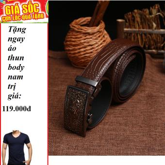 Thắt lưng vân cá sấu da bò thậtsiêu bền ( Nâu ) + Tặng 1 áo thun body nam