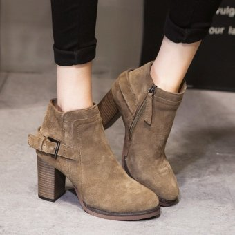 Womens High Heels Zipper Ankle Boots Winter Warm Block Nubuck Leather Shoes Khaki - intl