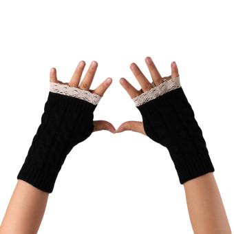 Knitted Fringe Warm Gloves Black