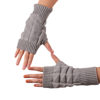 Knitted Fringe Warm Gloves Grey