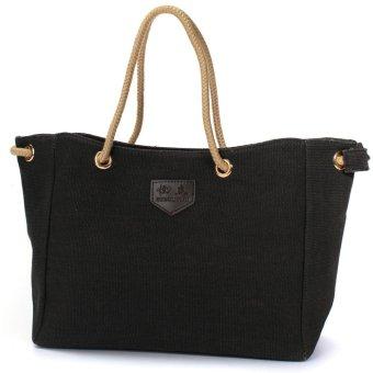 Fashion Women Casual Canvas Shopping Bag Handbag Shoulder Tote Messenger Pouch Black - intl