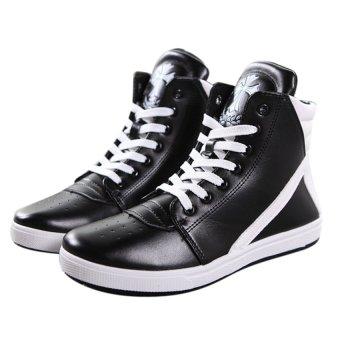 Giày bata phối trắng đen cổ cao SM005 (Đen)