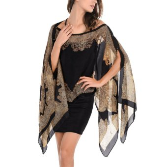 Womens Paisley Print Chiffon Beachwear Poncho Bikini Cover Up Top Black - intl