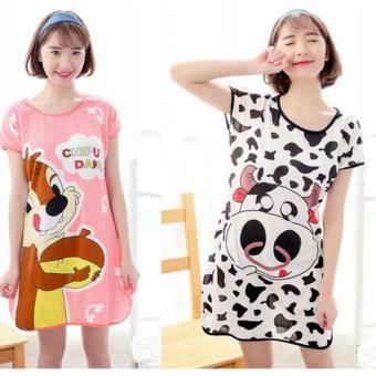 Bộ 2 Váy ngủ hoạt hình ngộ nghĩnh ROZALORWV62201BD-Bò Đen/RWV62201SH-Sóc Hồng