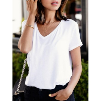 Áo thun nữ cổ V-neck màu trắng
