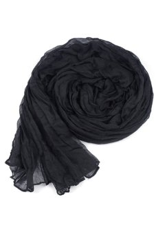 Sunweb Fashion Women's Long Crinkle Wraps Soft Shawl Stole Pure Color Scarf Black - Intl