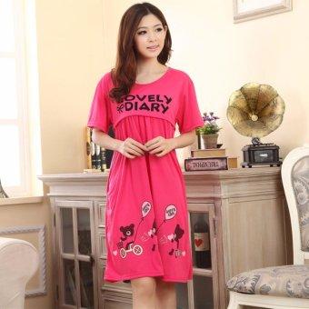 Đầm bầu thời trang thun cotton mềm mại mặc trước và sau sinh STT5632 (lovely hồng)