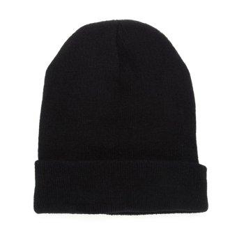 Unisex Knitted Woolly Winter Hat Black (Intl)