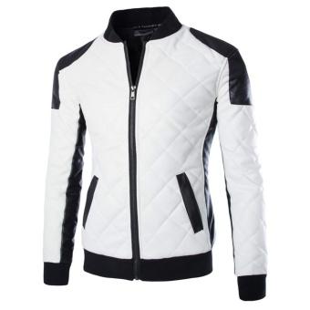 Men's Motorcycle Jackets Collar Stitching Leather Jacket Coat - intl