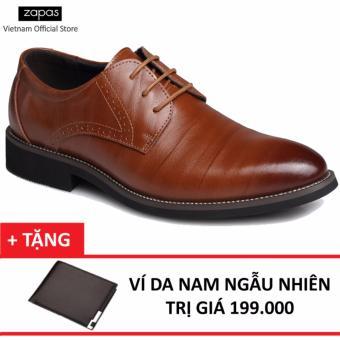 Giày Tây Nam Da Cột Dây Zapas GT019 (Nâu) + Tặng Ví Nam
