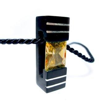 Mặt dây chuyền CoCo Design bằng gỗ Mun sừng cẩn đá topaz và bạc