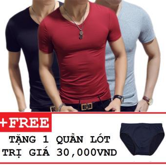 Combo 3 áo thun nam body cổ tim tặng kèm quần lót ( Đen , Đỏ Đô , Xám )