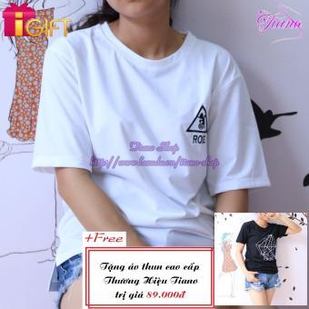 Áo Thun Nữ Tay Ngắn In Hình Rose Dễ Thương Tiano Fashion LV085 ( Màu Trắng ) + Tặng Áo Thun Nữ Tay Ngắn In Hình Kim Cương Cực Cool Tiano Fashion