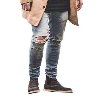 Men's Skinny Straight Denim Pants Blue (Intl) - intl