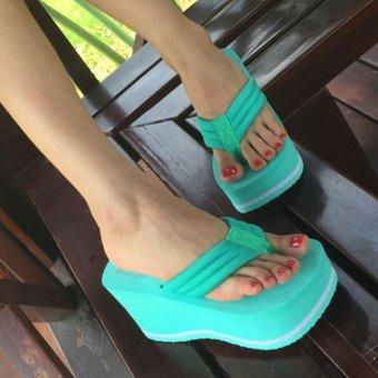 Moonar Women's Platform Flip Flops Wedges Sandals High Heels Skidproof Beach Shoes (green) - intl