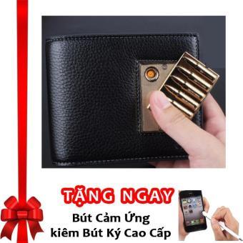 Bóp Ví Da Nam Cao Cấp Kiêm Bật Lửa Hồng Ngoại Cá Tính Kèm Cáp Sạc USB F91 ((Đen - Bạc (Mẫu ngẫu nhiên)) + Tặng bút cảm ứng kiêm bút ký