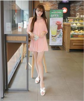 Đầm suông tay lỡ xẻ vai màu hồng cam xinh như phương trinh | Đầm suông đẹp