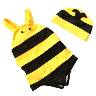 Kids Girls Cute Bee-style One Piece Swimsuit Swimwear Swimming Costume with Swimming Cap for 5-6 Year Old Size XL - intl