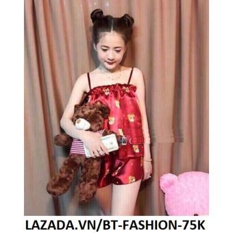Đồ Bộ Phi Bóng - Ở Nhà, Đi Ngủ - BT Fashion DN009A (Gấu - Bèo Đỏ)