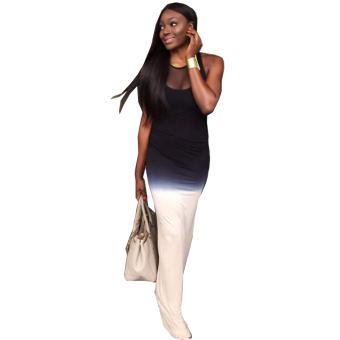 Gamiss New Style Slim Dress Grenadine Stitching Ink Plangi Woman - intl