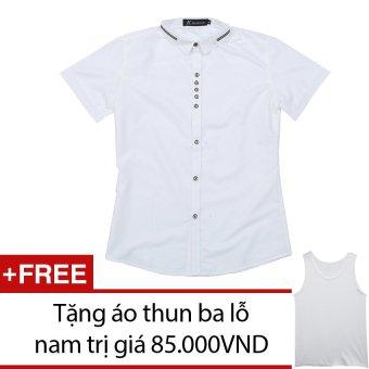 Áo Sơ Mi Nam Ngắn Tay SoYoung MEN SO MI 009 W + Tặng 1 áo thun ba lỗ nam