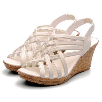 Moonar Cross Band Heel Sandals (White)