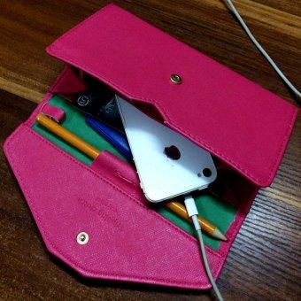 Ví cầm tay da cao cấp thiết kế giản dị thông minh nhiều chức năng -163(Hồng)