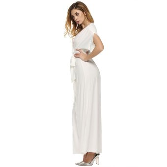 Cyber ANGVNS Women Lady Batwing Sleeve Deep V Neck Solid Maxi Long Dress Party Evening Full Gown with Belt (White) - Intl