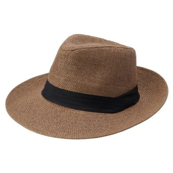 Fashion Men Women Panama Sun Straw Hat Contrast Ribbon Pinched Crown Rolled Trim Beach Cap - Intl