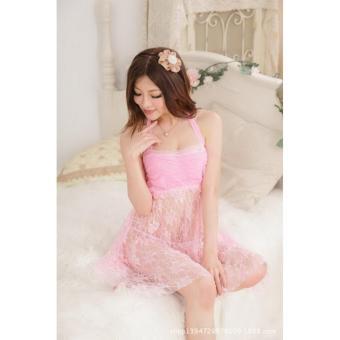 Áo đầm ngủ Sexy ren nhún ngực CDAN05 Rainstore (hồng)