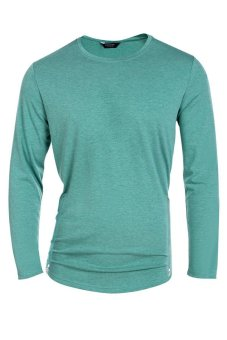 Cyber COOFANDY Men's Casual O-Neck Long Sleeve Solid Side Zipper T-Shirt Tops (Green) - intl