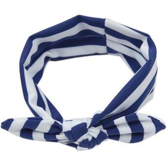 Bluelans Kids Girls Cotton Bowknot Tie Ear Striped Headband Headwear Hair Band Blue (Intl)