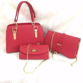 Bộ túi nữ da trơn màu đỏ Cao Cấp Da Giày Việt Nam VNL36AZNTT-1