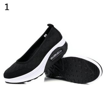 Bluelans Women's Fashion Mesh Breathable Wedges Spot Shake Fitness Sport Shoes 40 (Black) - intl