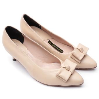 Giày cao gót nơ tâng heel with bow Dolly&Polly DL127 (Màu be)