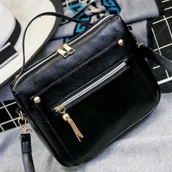 Women Retro Crossbody Bag Small Shoulder Bag Tassel Messenger Bags Tote Handbag Black - intl