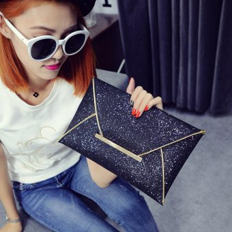 Moonar Women Glitter Sequin Evening Party Hand Bag Pouch Envelope Handbag Clutch (Black) - intl