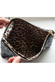 Bộ ví cầm tay kim tuyến và hộp đựng trang sức 3 tầng chodeal24h ( Đen và Tím than)