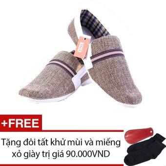 Giày lười nam cao cấp Da Giày Việt Nam VNL1LZD18NX (Nâu Xám) + Tặng 01 đôi tất khử mùi và 01 miếng xỏ giày trị giá 90.000 VND