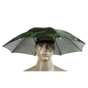 Camo Umbrella Hat Sun Shade Camping Fishing (Intl)