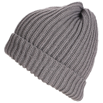 Unisex Solid Color Vertical Stripe Thick Beanie Knitted Warm Fall Winter Ski Cap Hat Light Grey - intl