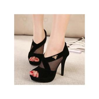 Giày cao gót lưới huy hiệu Fashion - LN1001