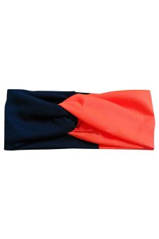Bluelans Women Twist Headband Head Wrap Twisted Knotted Knot Yoga Hair Band Black+Orange (Intl)