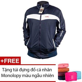 Áo khoác thể thao nam Dori D003 Sọc ngang (Xanh Đen phối Trắng) + Tặng túi đựng đồ cá nhân Monolopy màu ngẫu nhiên