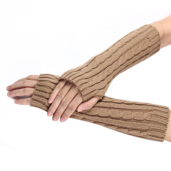 Knitted Arm Fingerless Winter Gloves Unisex Soft Warm Mitten Khaki