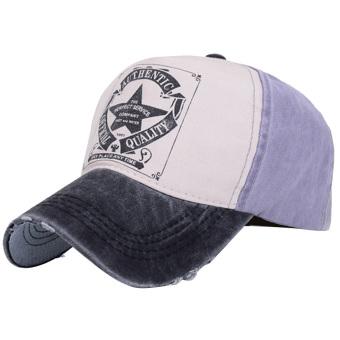 Boys Girls Vintage Five Star Printed Twill Cotton Unisex Trucker Hat Adjustable Baseball Cap Hip Hop Snapback Hat Black+purple - intl