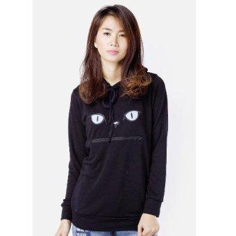 Áo khoác hoodie nữ thêu mèo CIRINO (Đen)